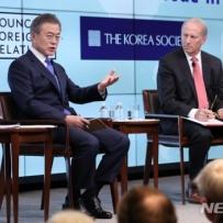 """文 """"北 IMF 가입 의사 확인..남북경협 美도 기회"""""""